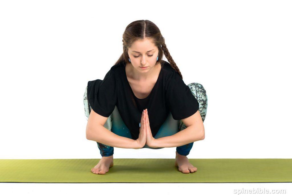 Асана йоги. Мандукасана. Поза лягушки